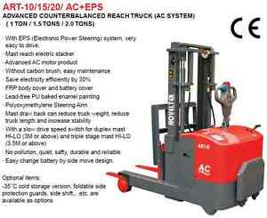 1 Ton Ac Pedestrian Counterbalanced Electric Reach Stacker Forklift Truck