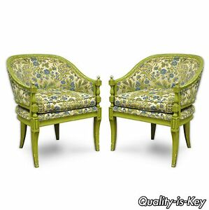 Pair Of Vintage Green Hollywood Regency French Sty Barrel Back Lounge Arm Chairs