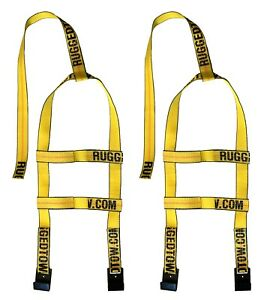 Two 2x Yellow Demco Mini Tow Dolly Straps Rugged Weave Axle W Hooks