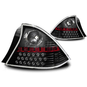 For 2001 2003 Honda Civic Coupe Led Black Housing Clear Lens Tail Lights Lamps