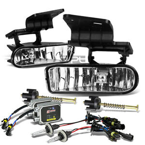 Fit 99 02 Chevy Silverado tahoe Clear Lens Fog Lights lamps bulbs 3000k Hid Kit