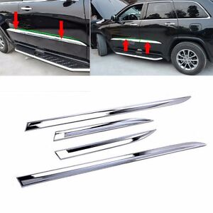 Fits Jeep Grand Cherokee 2014 2021 Chrome Body Side Door Molding Line Cover Trim