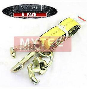 8 Pack 2 x8 Recovery Winch Strap W Rtj Cluster Hook Towing Truck Wrecker