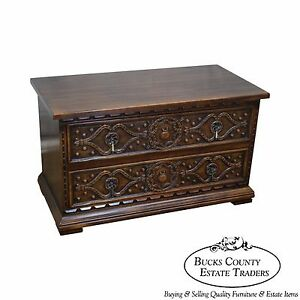 Widdicomb Vintage Carved Walnut 2 Drawer Low Chest