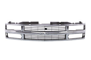 Chrome Grille W black Insert For 94 98 Chevy C k Truck Suburban Tahoe Gm1200238