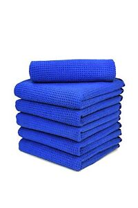 12pcs Microfiber Waffle Auto Cleaning Drying Towels 16 X 24 Blue