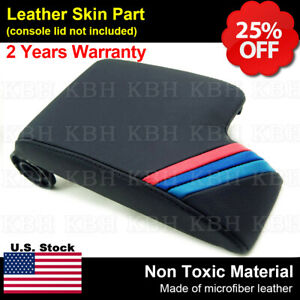 Fit 99 04 Bmw E46 Black Leather Console Lid Armrest Cover M3 M Tech Sport Stripe