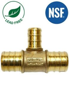 3 4 X 3 4 X 1 2 Pex Reducing Tee Fitting Brass Crimp Fittings 25 Pieces