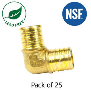 1 X 1 Pex Elbows Fitting Brass Crimp Fittings Lead free Nsf 25 Pieces
