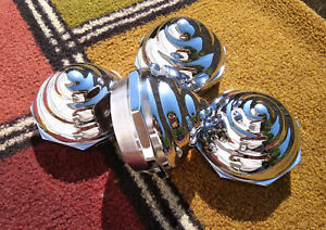 Wire Wheel Knock Off Spinners Chrome Spiral Bullet Pyramid Set Of 4