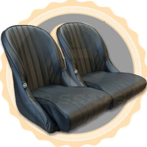 Pair Bb Vintage Classic Retro Car Bucket Seats Rounded Backs Universal