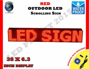 Red 38 x6 3 Led Programmable Scrolling Sign Outdoor 100 Water Proof