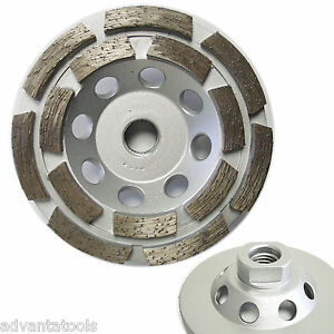 4 Double Row Diamond Cup Wheel For Concrete Stone Masonry Grinding 5 8 11