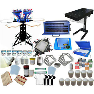6 Color Silk Screen Printing Press Equipments Supplies Kit Dryer Exposure Unit