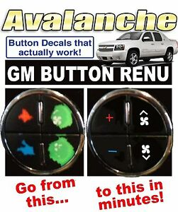 2007 2013 Chevrolet Avalanche Ac Button Decals Gm Climate Control Repair Set