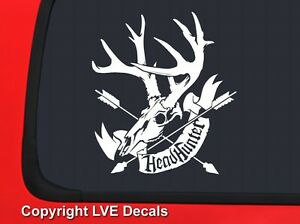 Headhunter Arrow With Skull White Hunting Window Decal Sticker