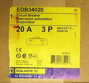 Square D Type Edb Circuit Breaker 3 Pole 20 Amp Edb34020