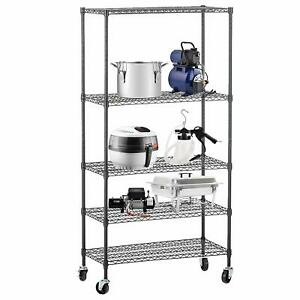 60 x30 x14 Heavy Duty 5 Tier Layer Wire Shelving Rack Adjustable Steel Shelf