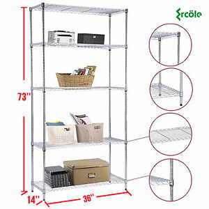 73 x36 x14 Heavy Duty 5 Tier Wire Steel Shelving Rack Chrome Shelf Adjustable