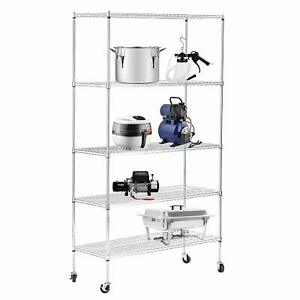 82 x48 x18 Heavy Duty 5 Tier Wire Shelving Rack Chrome Steel Shelf Adjustable