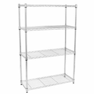 55 x36 x14 Heavy Duty 4 Tier Wire Shelving Rack Chrome Steel Shelf Adjustable