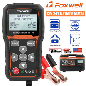 Foxwell Bt705 12v 24v 100 2000 Cca Car Battery Load Tester Cranking Charging Sys