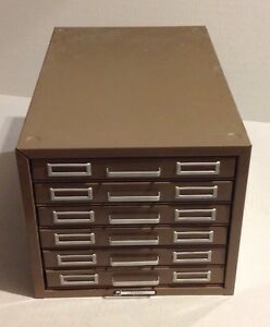 Vintage Steelmaster 5 X 8 In Index Card File Holder 6 drawer Filing Cabinet