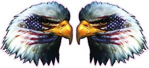American Flag Eagle Head Decal Pair 5 X 5 In Size Free Shipping