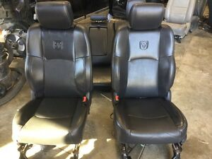 09 15 Dodge Ram 1500 2500 3500 Front Rear Black Leather Crew Cab Bucket Seats