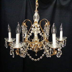 6 Light Vintage Rustic Brass Crystal 24 Chandelier From Opryland Hotel