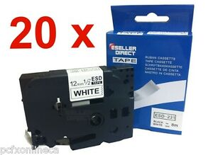 Compatible Label Tape Tz231 Tze231 12mm X 8m For Brother P touch Black On White