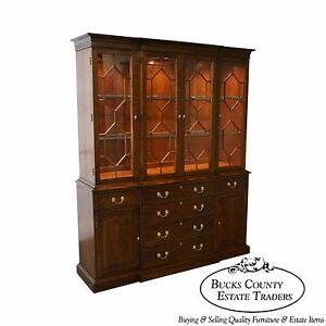 Harden Solid Cherry Chippendale Style Breakfront