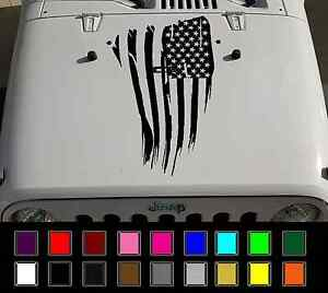18 5 X 29 Jeep Wrangler Distressed American Flag Vinyl Hood Decal Tj Lj Jk