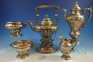 King George By Gorham Sterling Silver Tea Set 5pc 1293 Fabulous