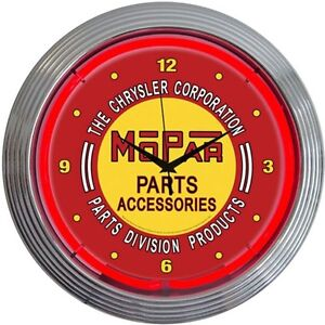 Neonetics 8mpred Mopar Red Vintage Neon Clock 15 Diameter