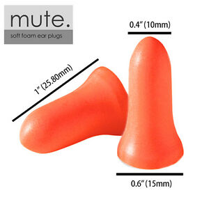 100 Pair Ear Plugs Memory Foam Soft Nrr 33 Bell By Mute Brand New In Bag