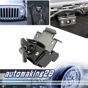For 07 16 Jeep Wrangler Jk Unlimited Hood Lock W key Anti theft Kit Assembly Set