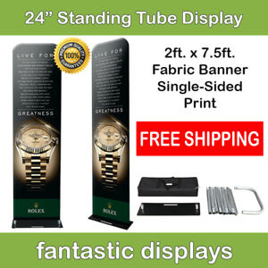 24x92 Fabric Tube Banner Stand Ez Display Tension Print For Trade Show Exhibit