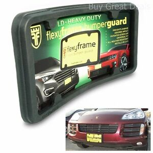 Front Bumper Guard Car Protector License Plate Frame 2 In 1 Universal Fit Rubber