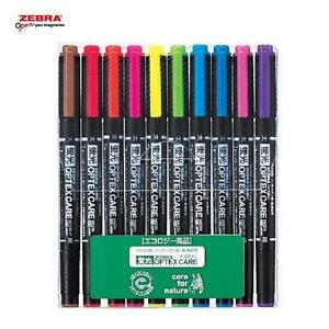 4 X Zebra Optex Care 10 Color 2 Sided Highlighter Fluorescent Marker Pens Japan