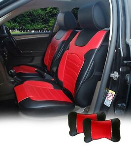 2 Pu Leather Car Seat Covers Cushion Compatible To Chevrolet 6802 Bk Red