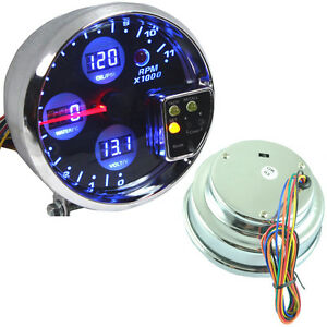 5 Digital Led 4 In 1 Tacho Water Temp Volt Voltage Oil Press Pressure Gauge
