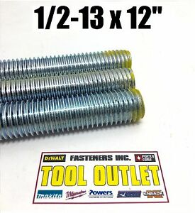 1 2 13 X 12 1ft Long Zinc Plated Lowcarbon Steel Fully Threaded Rod 30 Pack