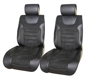 2 Car Seat Covers Cushion Suede W Pu Leather Universal Bucket Seat 6803f Black