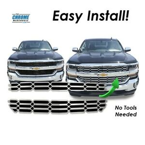 Fits 2016 2017 Chevy Silverado chrome Grille Insert Overlay Ls Lt Wt