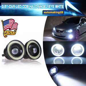 3 5 Inch Cob Led Fog Light Projector Car White Angel Eyes Halo Ring Drl Lamp Us