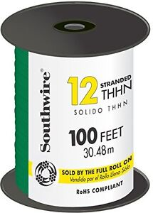 Wire 12awg Thhn str Green100ft