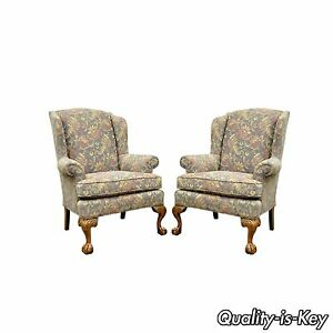 Pair Of Vintage American Of High Point Chippendale Ball Claw Wing Back Chairs