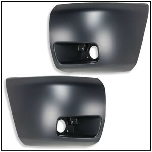 New Set Of 2 Front Bumper Ends W fog Light Holes For Chevy Silverado 1500 Pair
