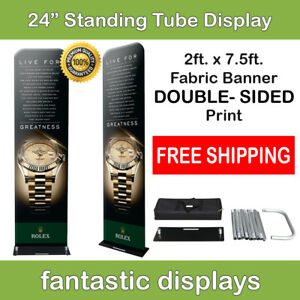 24x92 Fabric Tube Banner Stand Ez Display Tension Double Sided Print Trade Show